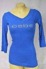 BEBE logo stretch crystals t shirt ribbed V NECK  blue URW 159283 S L 3/4 sleeve