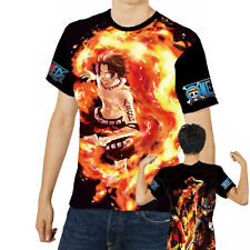 Japanese Anime ONE PIECE ACE LUFFY Unisex Cool Cosplay Short Sleeve T-Shirt #044