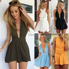 Playsuit Sexy Romper Mini Dress Womens Chiffon Backless Party Jumpsuit Clubwear