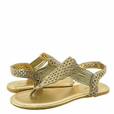 Women's Shoes Bamboo Sonata 65S Embellished T-Strap Sandals Gold *New*