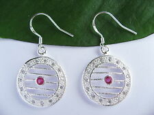 925 Sterling Silver Red Stone Round Straight Line hollow Earrings Jewellery Gift