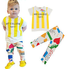 2pcs New Outfits Set Cute Baby Kids Boys Short Sleeve T-shirt Tops   Long Pants