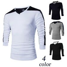 Mens cotton  Slim Fit shirt Round collar long sleeved stitching shirts Tee Tops