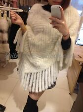 100% Real Knitted Mink Fur Cape Stole Scarf Shawl Coat Outwear Classic tassels C