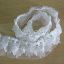 2/5/10M 4-layer Sequins Pleated Organza Lace Edge Trim Gathered Ribbon Sewing