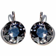 Large Round Bella Women Black Diamond  Earrings with Genuine SWAROVSKI Crystals