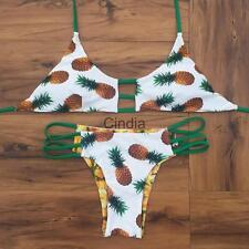 Halter Pineapple Self Tie Padded Bikini Set Triangle Tropical Bathing Bikini