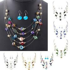 Vintage Bohemian Multilayer Crystal Necklace with Earrings Set