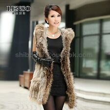 100% Real rabbit Fur knitted raccoon fur Hooded Vest waistcoat jacket Gilet cc