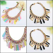 Chunky collar Chains Dangle Pendant bib Necklace weave beads gems necklace