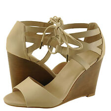 Women's Shoes Bamboo Whimsical 01M Double Band Tie Up Wedge Sandal Nude *New*