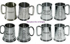 ENGRAVED Pewter WEDDING Tankard Male Role Thank Your For Being OUR Gifts Present
