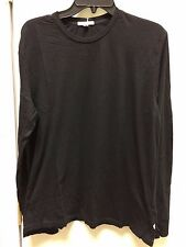 james perse black crewneck tee shirt mlj3515 l/s *xs 100% Cotton  sz 0 mens *xs