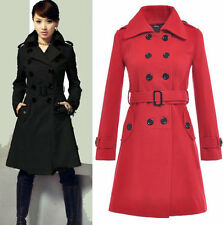 Women Girl Wooled Coat Military Trench Coat Belted Double-Breasted Long Jacket