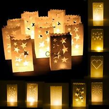 12 Mini White Candle Bags Candle Lanterns Papr Bags Outdoor Garden Wedding Decor