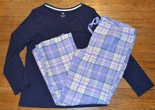 XL Sonoma 2 Piece Knit & Flannel Pajama Set Flannel Lounge Pants & Knit Top