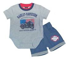 Harley-Davidson Baby Boys' Creeper Newborn 2 Piece Short Set, Gray 2052615