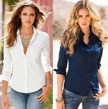 Blouse Fit Slim Long Casual Womens Shirt Sleeve Cotton Fashion NEW Top Blouse