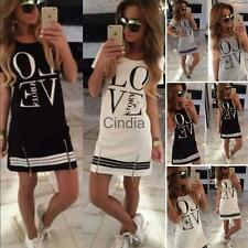 Women Fashion O-Neck Short Sleeve T-Shirt Mini Dress Skirt Printed Love with Zip