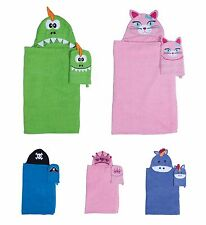 Kids Hooded Bath Towel Mitt Set Boy Girl Toddler Animal Character Beach Towels