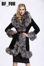 Winter 100% Genuine Leather Big Fox Fur Collar Coat Outwear Lining Jacket C0104