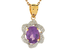 10k / 14k Two-Tone Gold Simulated Amethyst February Birthstone Charm Pendant