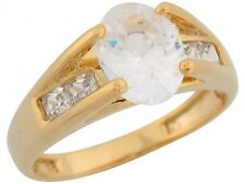 10k / 14k Yellow Gold White CZ Ladies Fancy Engagement Thick Band Wedding Ring