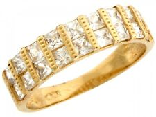 10k / 14k Yellow Gold Beautiful Design Two Row Square CZ Men's Wedding Band