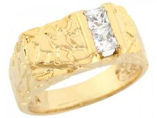 10k / 14k Yellow Gold White CZ Accents Rectangular Nugget Mens Ring