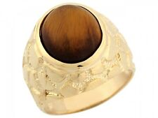 10k / 14k Solid Yellow Gold Synthetic Tigers Eye Nugget Large Handsome Mens Ring