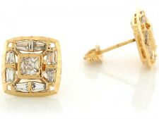 10k / 14k Real Yellow Gold White CZ Cluster 1.25cm Petite Square Post Earrings