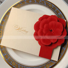 Beautiful Wedding Invitations Cards With Embossed Flower And Envelopes, Seals