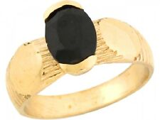 10k / 14k Real Yellow Gold 0.85ct Black CZ Oval Antique Inspired Baby Ring