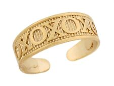 10k / 14k Real Yellow Gold Xoxo Hugs Kisses Medium Designer Toe Band