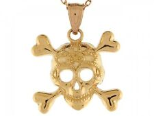 10k / 14k Real Yellow Gold Skull and Crossbones Pirate Pendant