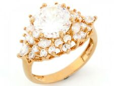 10k / 14k Solid Gold Sparkling CZ Cubic Zirconia Fancy Ring