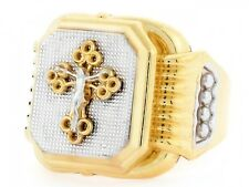 10k / 14k Two Tone Gold Religious Filigree Crucifix Mens Ring
