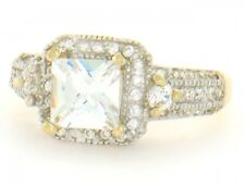 10k / 14k Solid Yellow Gold 6mm Square CZ Engagement Ring