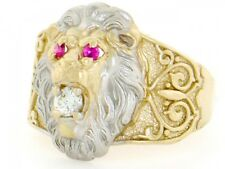 10k / 14k Two-Tone Gold Lion Head Red & White CZ Mens Ring