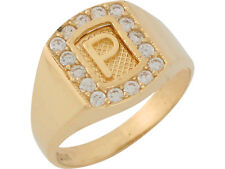 10k / 14k Yellow Gold White CZ Block Letter P Initial Mens Brilliant Ring