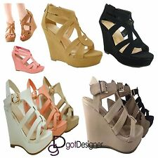 Womens Fashion Shoes Wedge High Heel Platform Open Toe Sandal Pump T-strap HOT