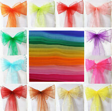 Sheer Organza New Chair Cover Banquet Feast Ribbons Bow Wedding Party Sashes DIY