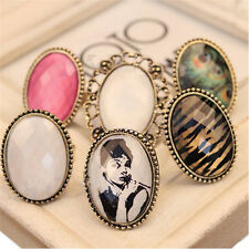 Hot Sale Retro Style Big Rhinestone Ring Vintage Stone Fashion Girl New 6 Colors