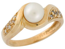 10k / 14k Yellow Gold Cultured Pearl and White CZ Elegant Ladies Chic Ring
