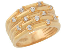 10k / 14k Yellow Gold Brilliant White CZ Ribbed Wide Band Ladies Fancy Ring
