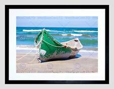 SEASCAPE BEACH BOAT SAND OCEAN SEA SURF BLACK FRAMED ART PRINT PICTURE B12X4780