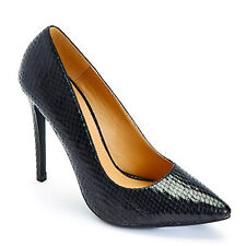 LADIES WOMENS BLACK POINTED COURT STILETTO HIGH HEELS SHOES SNAKE SKIN PU SIZE