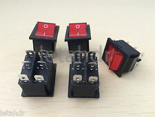 5/10/50 pcs 6-Pin Red Rocker Switch Boat Shape DPDT Double Pole Double Throw