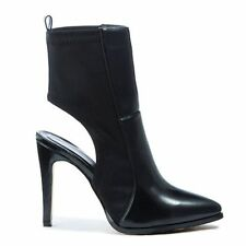 WOMENS LADIES POINTED TOE CUT OUT STILETTO HIGH HEEL BLACK PU BOOTS SHOES SIZE