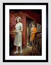PAINTINGS PORTRAIT PATIENT NURSE SMOKING SCENE BLACK FRAMED ART PRINT B12X9903